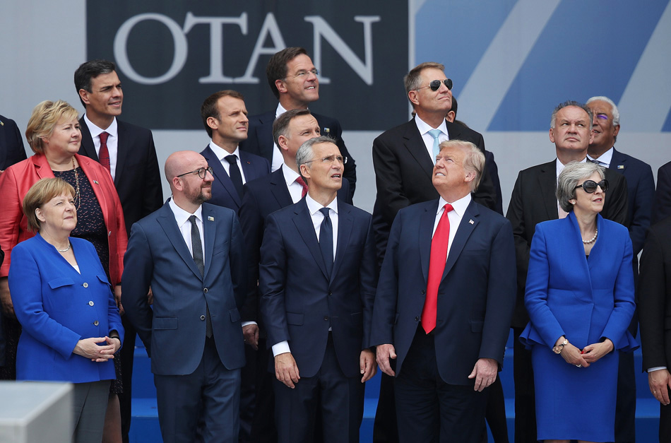 Trump not aligned with NATO leaders, politically and literally