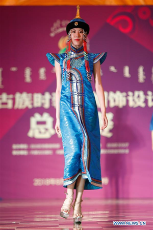 Creations presented during design contest of Mongolian costumes in Hohhot