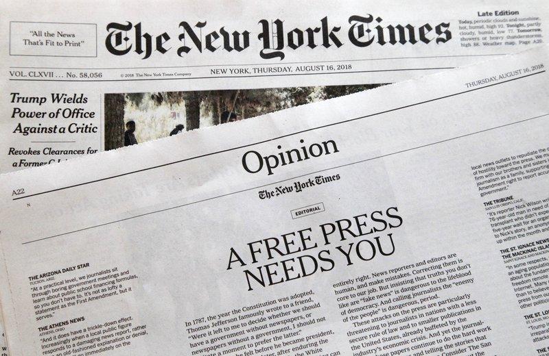 US newspapers to Trump: We're not enemies of the people
