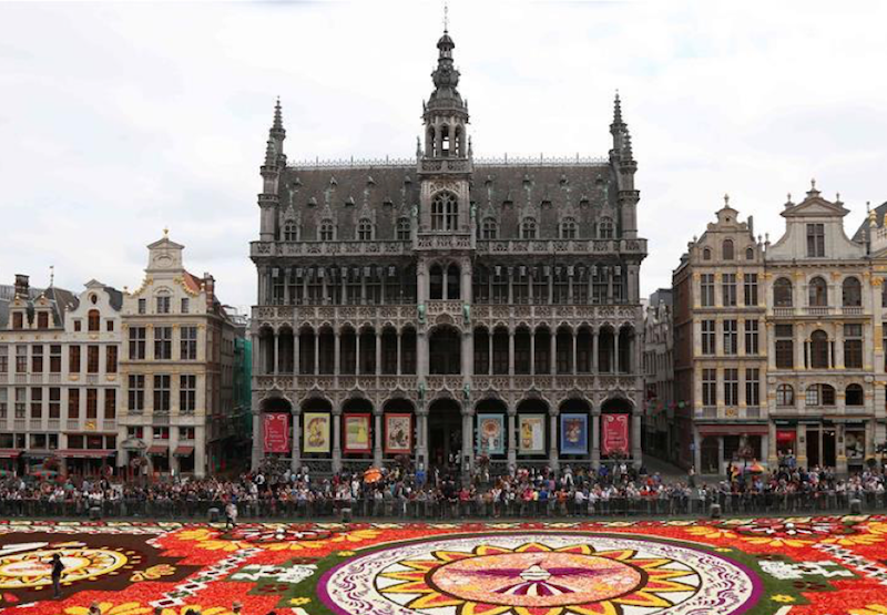 Biennial flower carpet decorates Brussels' Grand Place, Belgium