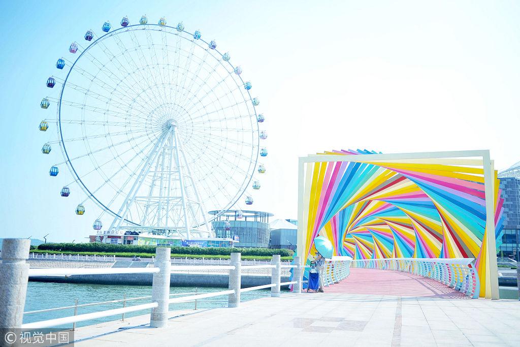 """A """"Rainbow Bridge"""" makes its debut in Qingdao"""