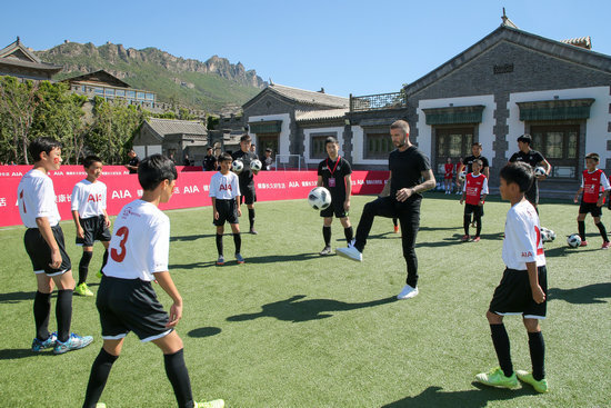 David Beckham promotes healthy lifestyles in China