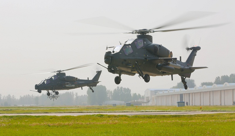 Milti-type helicopters lift off for exercise in East China