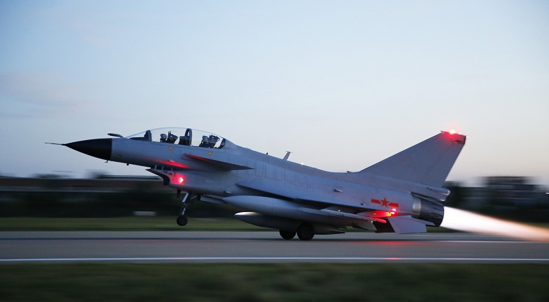 J-10 fighter jets participate in round-the-clock flight training