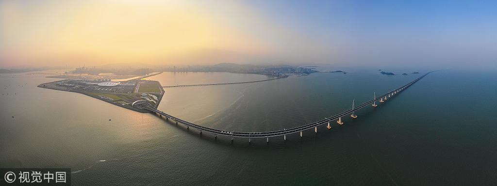 Aerial view of the Hong Kong-Zhuhai-Macau Bridge, September 22, 2018. [Photo: VCG]
