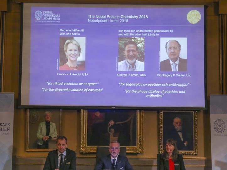 Three evolutionary scientists win Nobel Prize in Chemistry 2018
