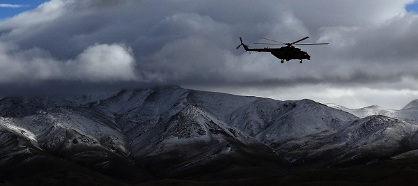 Helicopter patrols border area