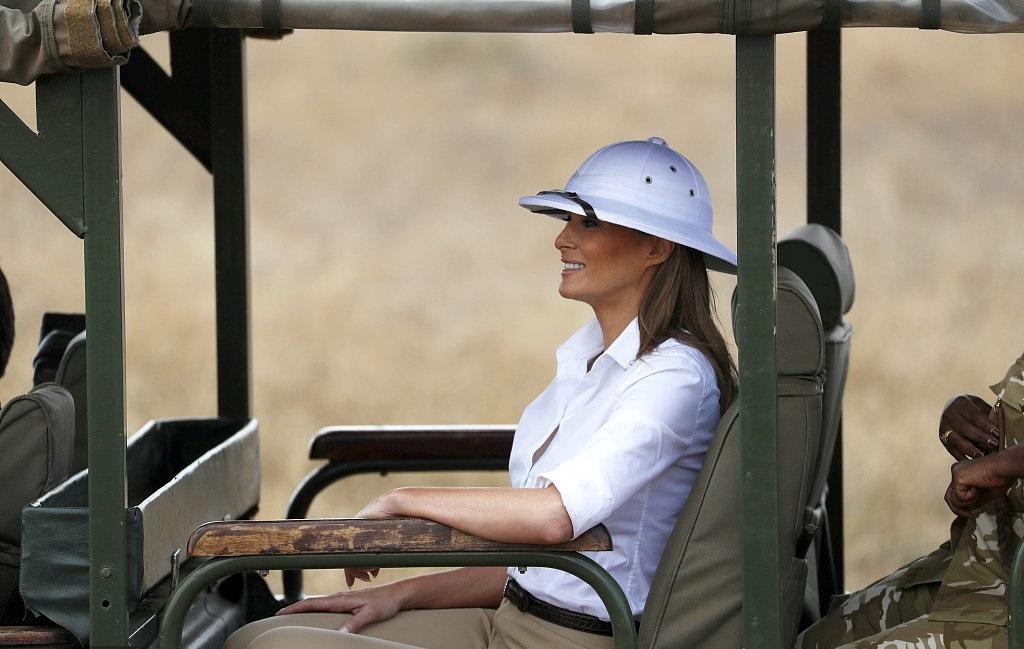 Melania hits back at critics of her white pith helmet
