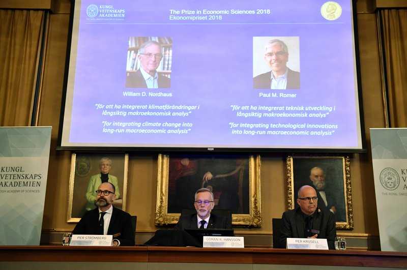 2 Americans win econ Nobel for work on climate and growth