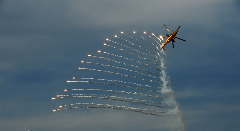Helicopters shoot flares for concealment