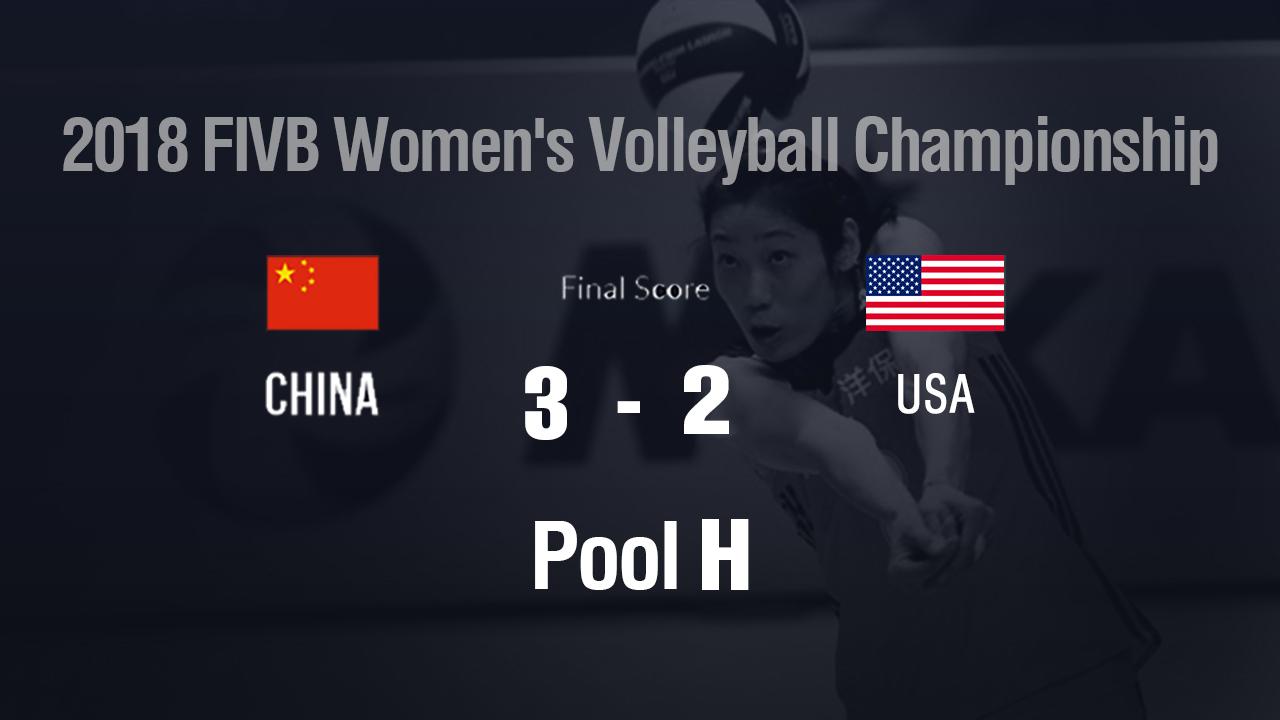 China edges US 3-2 at the FIVB Women's World Championship