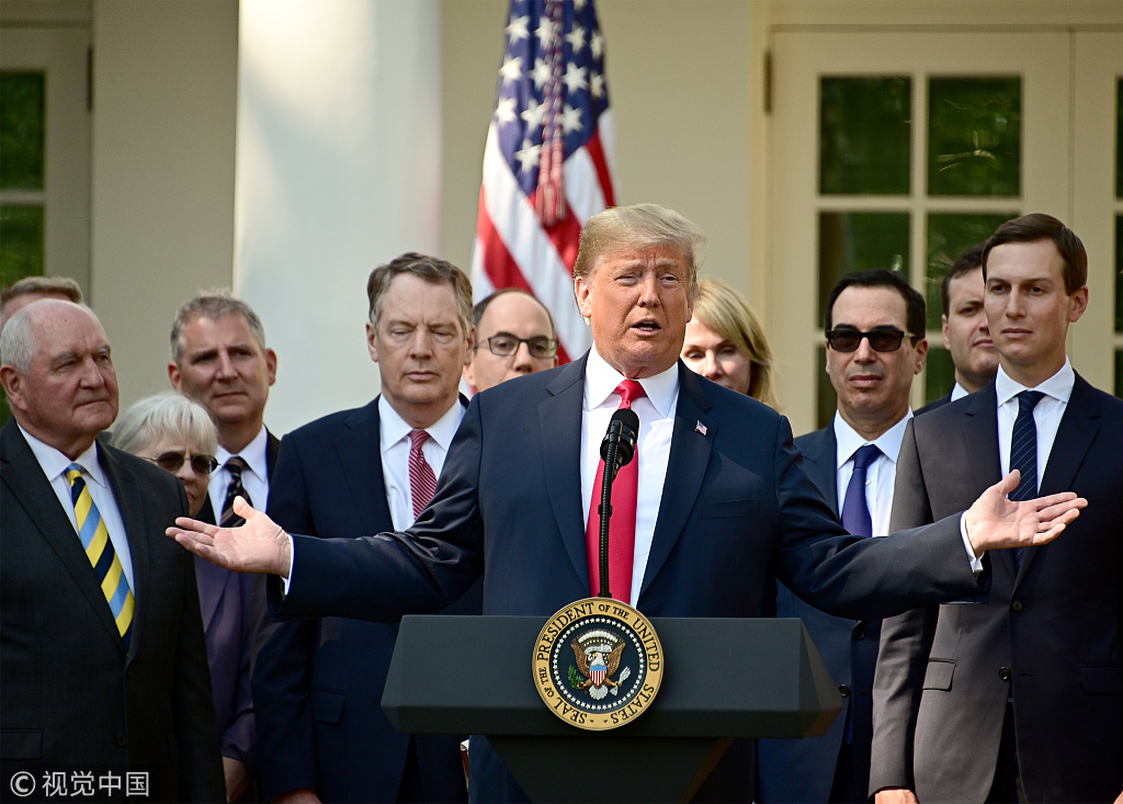 United States President Donald J. Trump delivers remarks on the United States Mexico Canada Agreement (USMCA) in the Rose Garden of the White House in Washington, DC on Monday, October 1, 2018. [File photo: CNP/MEGA/Ron Sachs]