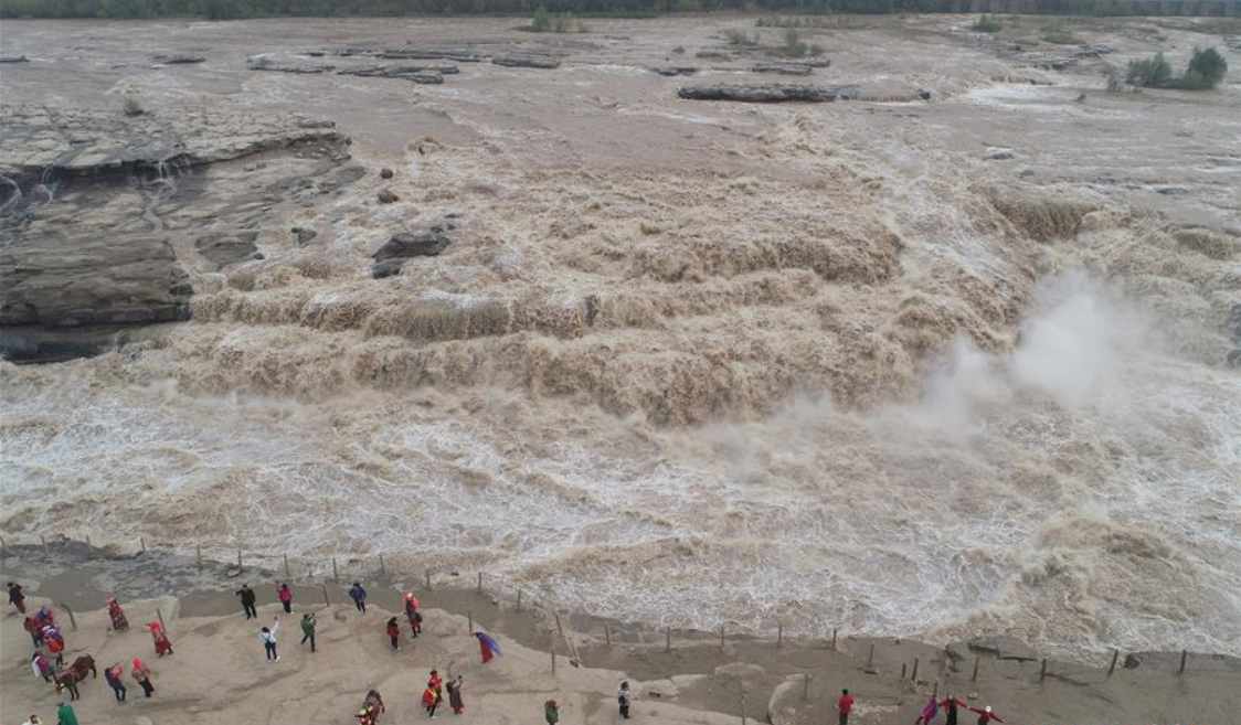 In pics: view of Hukou Waterfall of Yellow River in NW China's Shaanxi