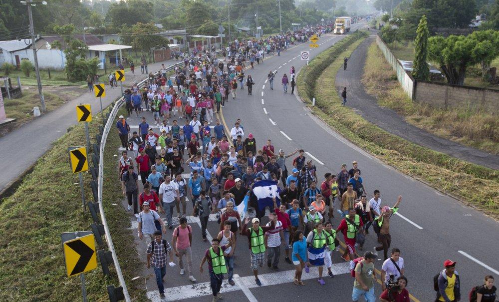 Federal police on highway ahead of caravan