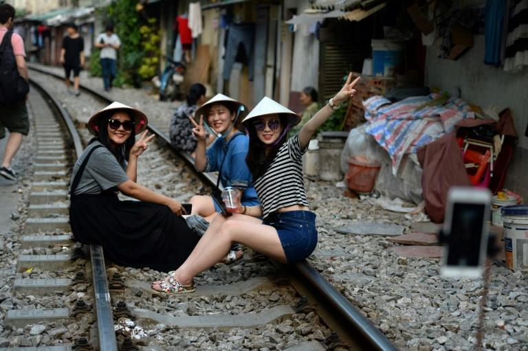 Hanoi's colonial-era railway doubles as selfie hotspot