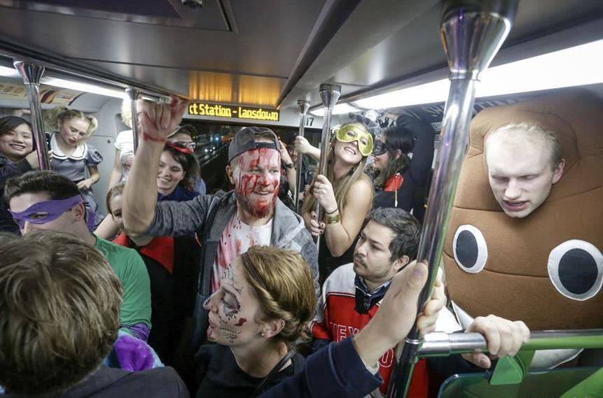 Annual Halloween Skytrain party held in Vancouver, Canada