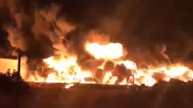 Huge fire breaks out at oil depot in N China's Tianjin