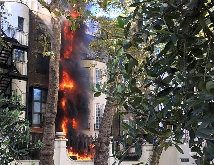 Blaze break out near Saudi embassy in London
