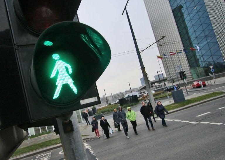 Female traffic lights mark century of women's vote in Lithuania