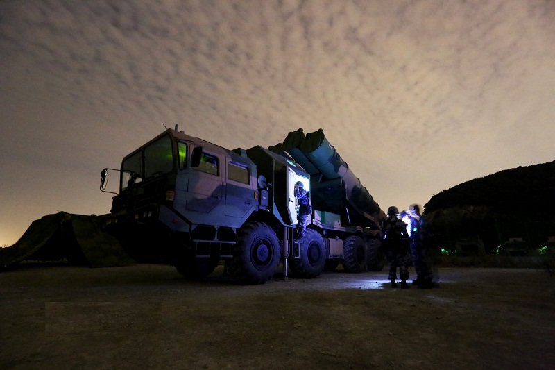 Navy coastal missile troops fire anti-ship missiles