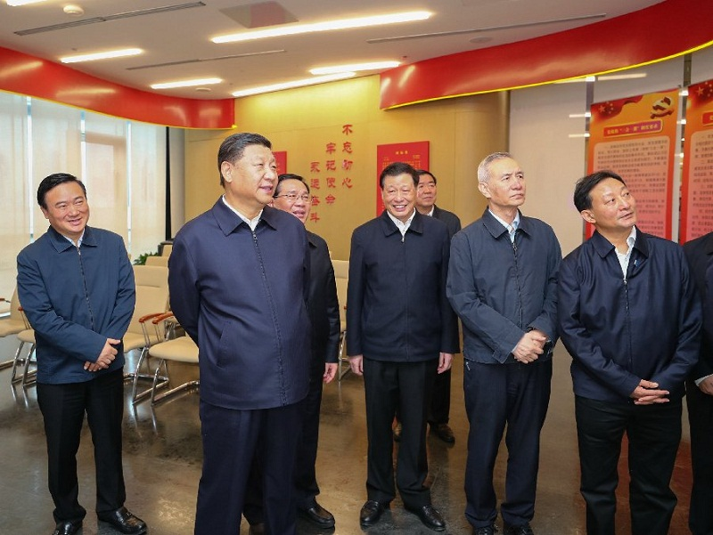 Chinese President Xi Jinping inspects in Shanghai
