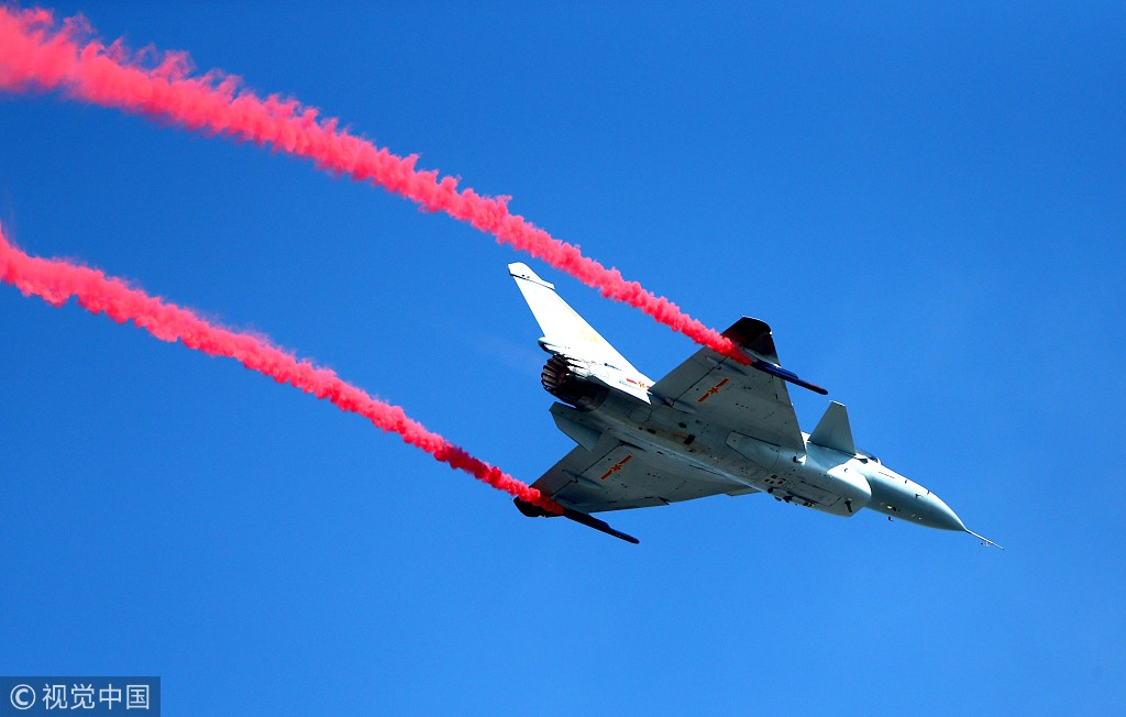 China's fighter jets perform at Airshow China in Zhuhai