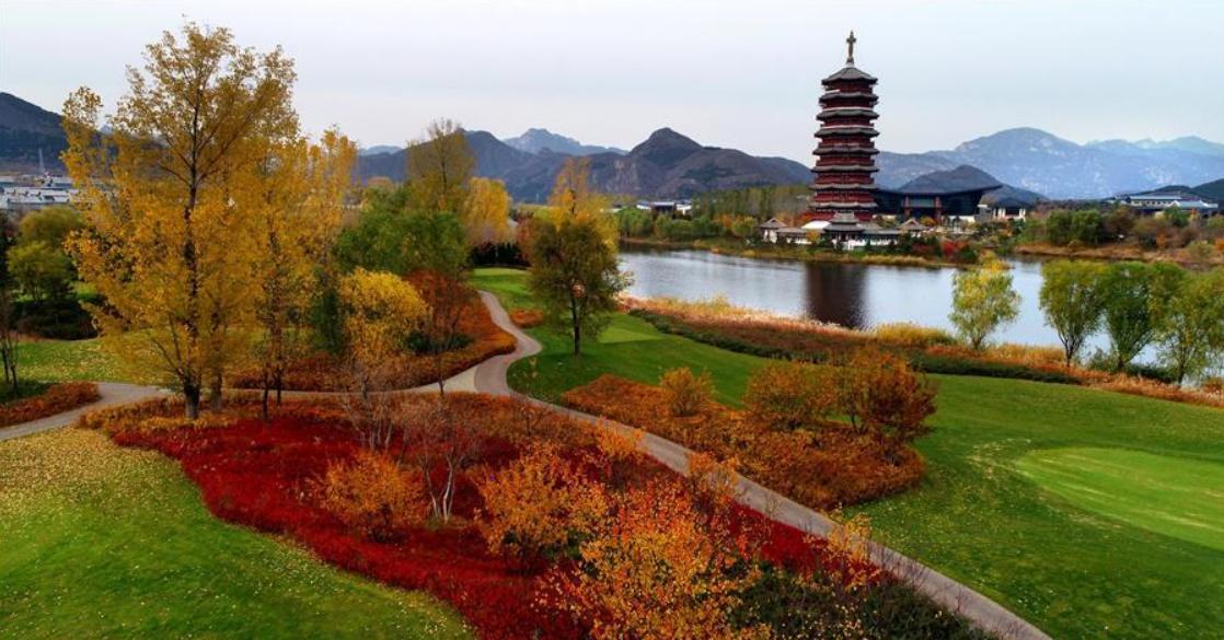 Scenery of Yanqi Lake after rain in Beijing