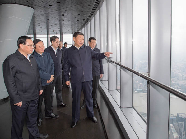 Xi Jinping inspects China's tallest building in Shanghai
