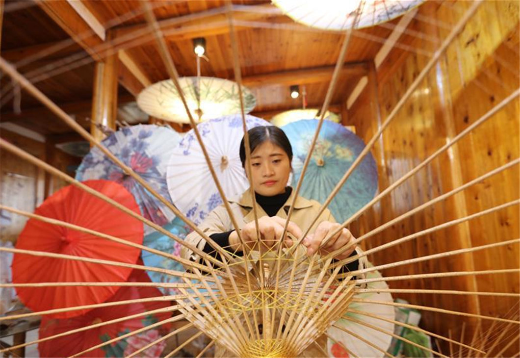 People makes bamboo weaving products in Chishui, China's Guizhou