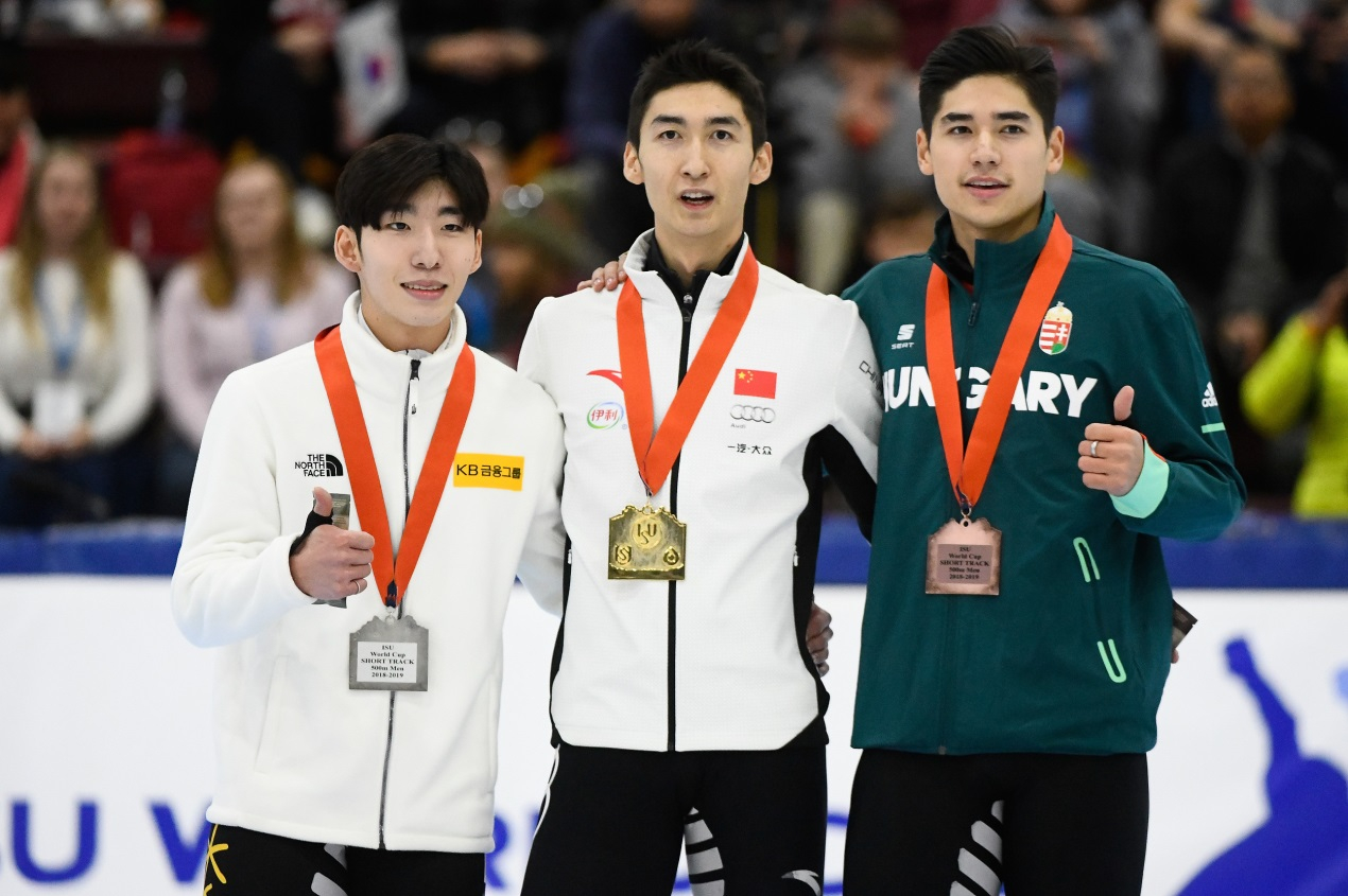 Wu Dajing wins 500m speed skating gold in World Cup