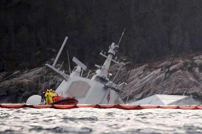Norwegian frigate sinks after it was rammed by tanker