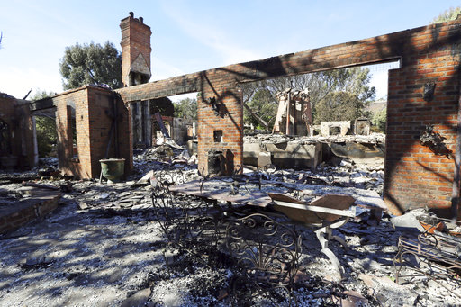 The Malibu, Calif., villa of German TV presenter Thomas Gottschalk lies in ruins Tuesday, Nov. 13, 3018. [Photo: AP]
