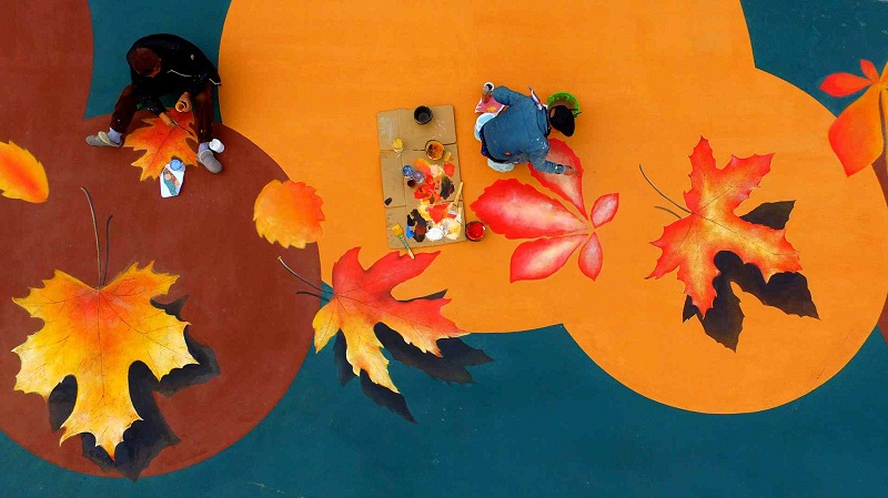 Park staff in central China create giant 3D painting of maple leaves