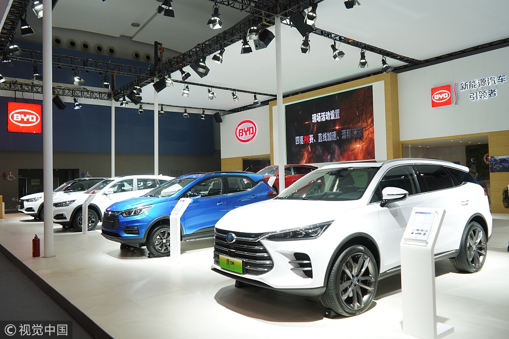 BYD's new energy vehicles are showed at Guangzhou International Automobile Exhibition 2018 on November 16, 2018 in Guangzhou, China. [Photo: VCG]