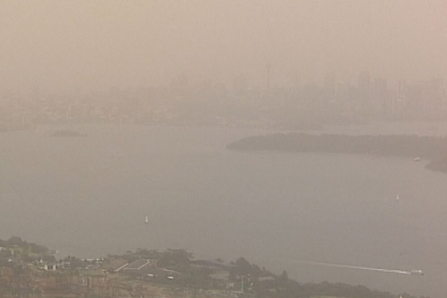 A dust storm, which stretches about 500 kilometres across some parts of New South Wales in Australia, reduces visibility in Sydney on Thursday Nov 22, 2018. [Photo: AP]