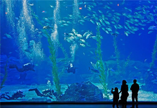 Tourists visit Aqua Planet in Jeju Island, South Korea