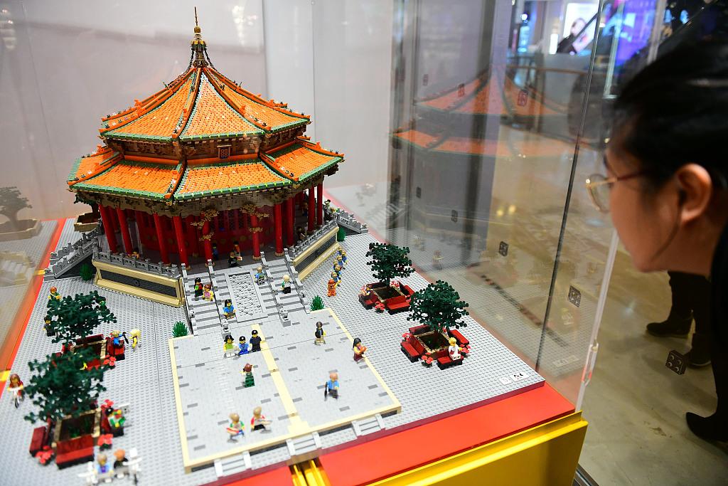 Palace made from Lego bricks displayed in Shenyang, NE China