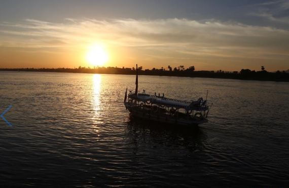 Scenery of Nile at sunset in Luxor, Egypt