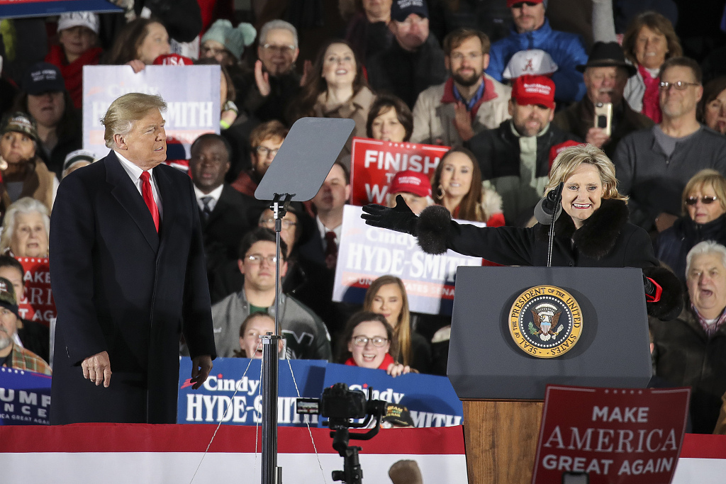 Trump rallies support in Mississippi for Republican candidate in Senate runoff