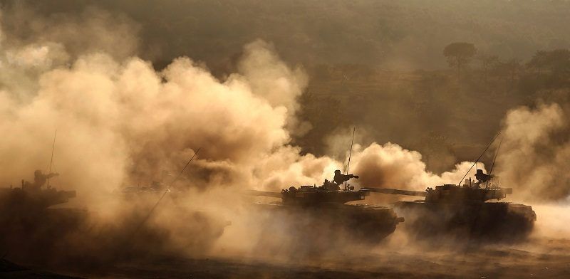 PHZ-89 rocket launching systems fire at mock targets