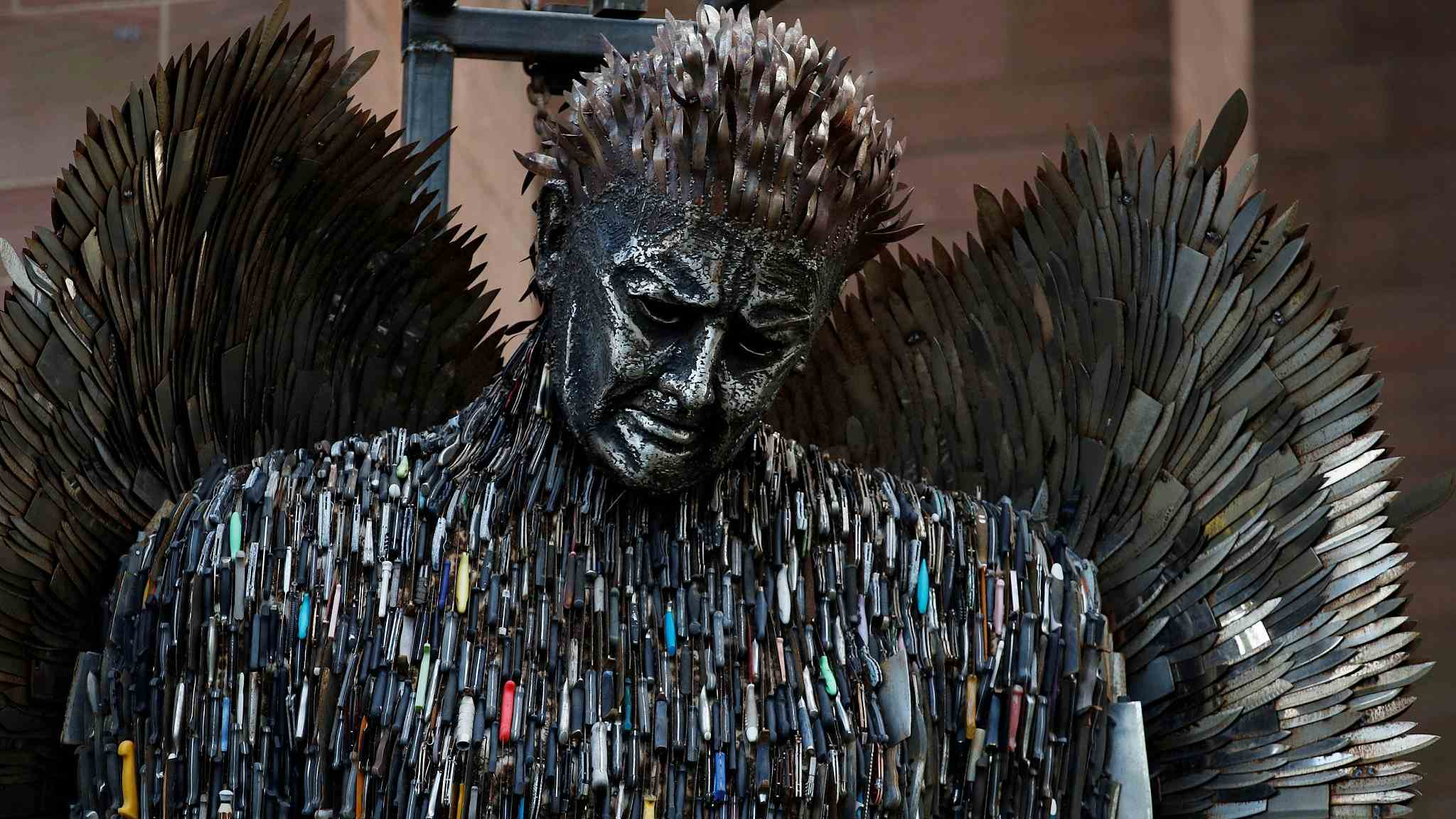 UK artist creates sculpture with 100,000 blades to highlight knife crime