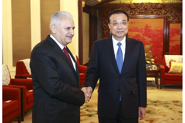 Chinese premier meets Turkey's parliament speaker