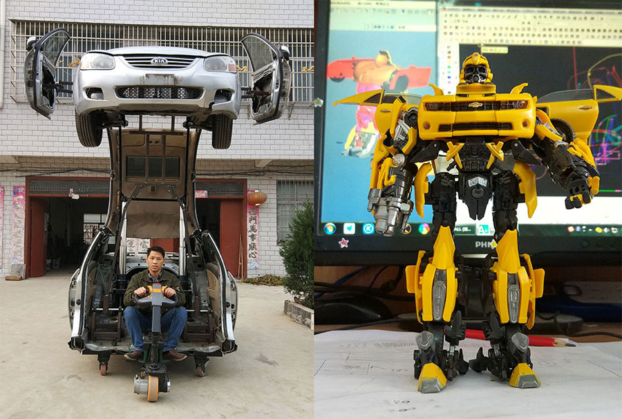 Chinese man turns car into real-life Transformer