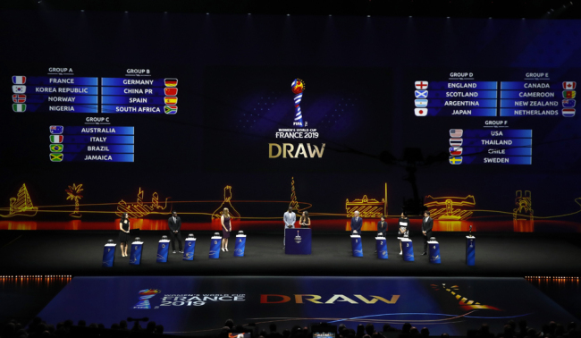 Groups are displayed during the women's soccer World Cup France 2019 draw, in Boulogne-Billancourt, outside Paris, Saturday, Dec. 8, 2018. [Photo: AP/Christophe Ena]