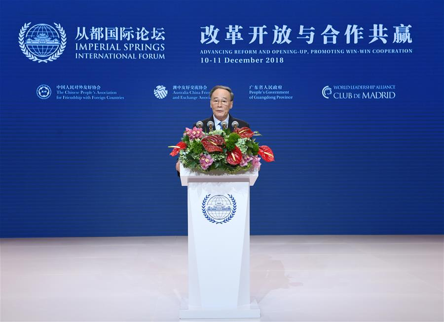 Chinese vice president attends 2018 Imperial Springs International Forum