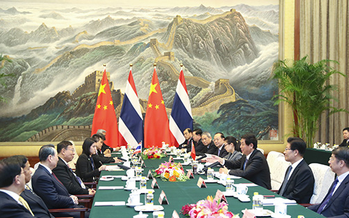 Chinese top legislator holds talks with Thailand's head of parliament