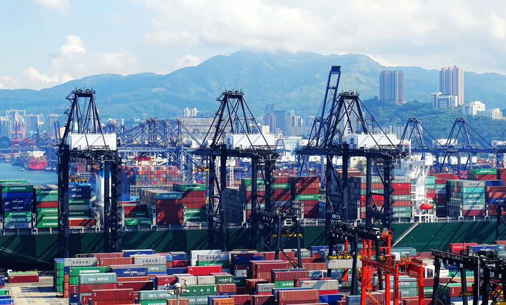 An aerial view of Kwai Chung Container Terminal in Hong Kong, August 20, 2017. [Photo: IC]