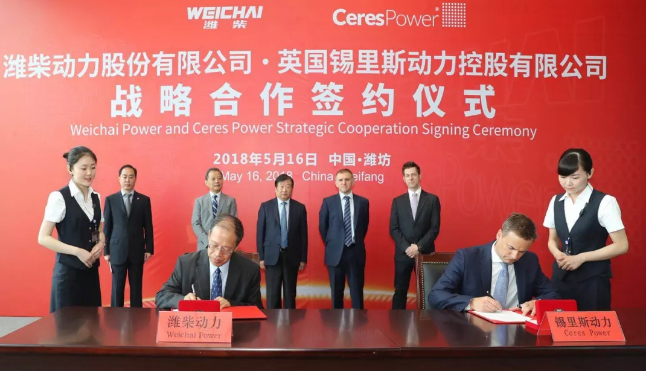 China's Weichai closes collaboration deal with Ceres Power