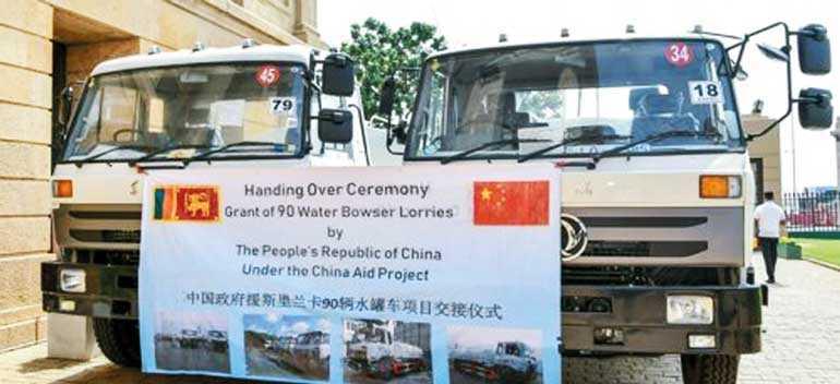 China donates 90 water bowser trucks for drought hit provinces in Sri Lanka