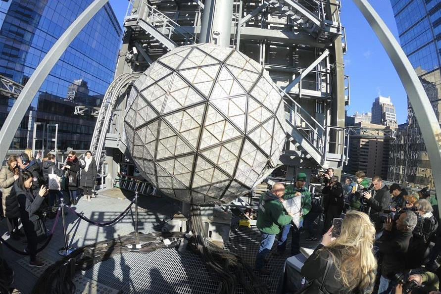 Times Square New Year's Eve Ball decorated for 2019 celebration